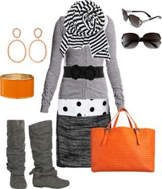 Shades of grey with black & orange.