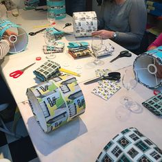 Sharing some snaps from my recent lampshade making workshop at Love Art in  Tooting today. It very much seemed that a good time was had by all - and  everyone came away with a fantastic looking finished lampshade - result!  The finished lampshades...  Setting up - Images by Claire at Love Art