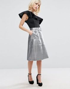 Lost Ink Metallic A-Line Skirt