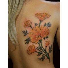 Poppy tattoo. California poppy tattoo.