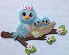MAMA & BABY BIRDS TEAR BEAR Scrapbook Paper Piecing ELITE4U 3paperwishes