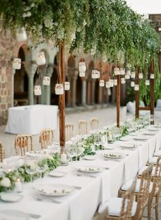 fresh green summer wedding table decor-NOT ON THE TABLES, BUT HUNG ON THE TREES IN THE GARDENS, YES! amy