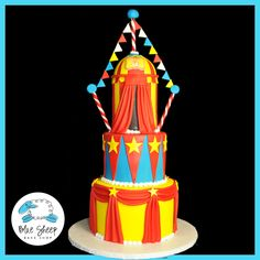 We had the great pleasure of creating this three tiered circus themed gender reveal cake this weekend. The cake features fondant swags, stars, flags, and a circus tent! The cake batter was tinted. Carnival Cakes, Circus Cakes, Circus Birthday, Birthday Parties, Birthday Cake, Fondant Cakes, Cupcake Cakes, Cupcakes, Specialty Cakes