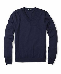 Navy lightweight saxxon wool v-neck sweater brooks brothers