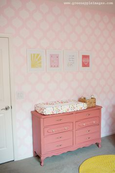 Painted vintage dresser turned changing table - pink and coral love!