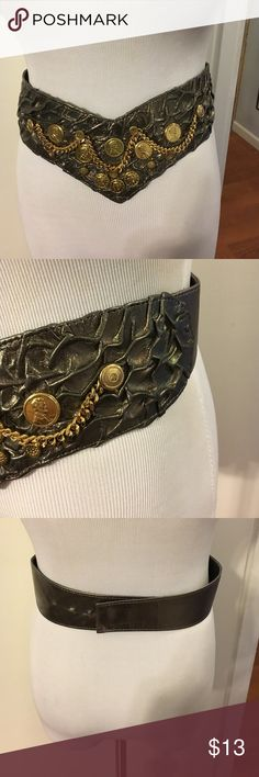 Isabel metallic leather belt Back hook closure. Coin and chain detail. Isabel Accessories Belts