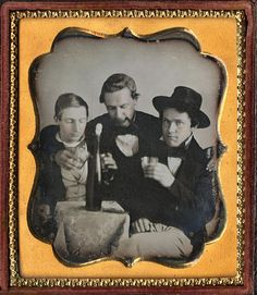 A boys' night out, ca. 1850. Pictured are W. H. Shouse, Sam Van Kirk, J. D. Young.