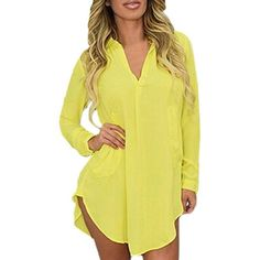 Plus Size Sexy Women V Neck Long Sleeve Lapel Dress ($19) ❤ liked on Polyvore featuring dresses, yellow, sexy yellow dress, summer dresses, sexy plus size dresses, long sleeve v neck dress and yellow dress