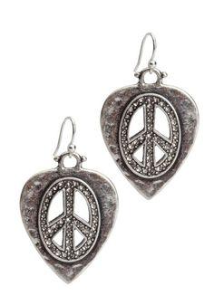 Peace Sign Guitar Pick Earrings