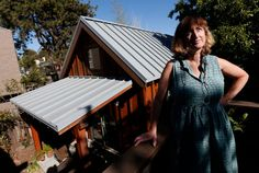 "Karen Chapple is photographed on her deck overlooking her accessory dwelling unit at her home in Berkeley, Calif., on Tuesday, July 12, 2016. Chapple is a UC Berkeley professor and affordable housing expert, and had the tiny 400-square-foot ""granny"" unit built five years ago. (Jane Tyska/Bay Area News Group) Affordable Housing, The Unit, Projects, Building, House, San Jose, Bay Area, Experiment, Professor"
