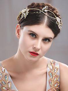 Handcess nozze fiore fascia leaves Hair Vine strass nuziale gioielli capelli  per sposa e damigelle d  onore (oro)  Amazon.it  Bellezza a0d723fd8967
