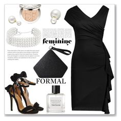 """""""Formal Asymmetric Side Slit Ruffle Surplice Slinky Dress"""" by jecakns ❤ liked on Polyvore featuring Christian Dior, Allurez and Tom Daxon"""