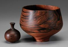 """Two Turned Bowls, Rude Osolnik (Berea, Kentucky, 1915-2001): figured bowl, marked """"Osolnik Originals, Madera Ebony '86"""", 6 in., excellent condition, minor separations as made; weed pot, unmarked, 3-1/2 in. Consigner states that Osolnik handed the weed pot to her as it came off the lathe; Collection of Phyllis George"""