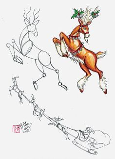 how to draw a reindeer head