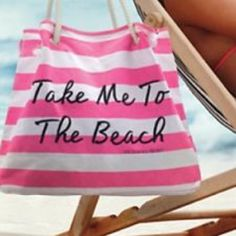 """Victoria's Secret Take me to the beach tote Pink and white stripes with black writing that says """"Take me to the beach Victoria's Secret"""" Victoria's Secret Bags Totes"""