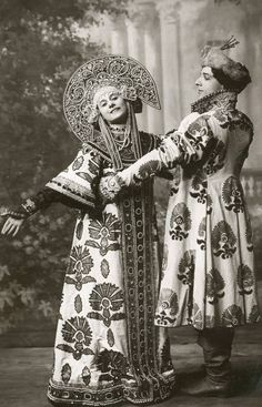Anna Pavlova with Mikhail Mordkin costume for the Russian Dance, 1910...Image gallery at link.