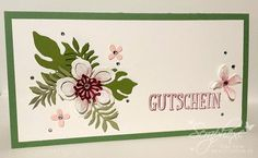 handmade card ... Gutschein, Botanischer Garten, scraphexe.de ... short and wide format ... lovely arrangement of Botanical Blooms die cuts ... Stampin' Up!