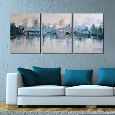 """AmazonSmile: ARTLAND Modern 100% Hand Painted Framed Abstract Oil Painting """"Blue Villages"""" 3-Piece Gallery-Wrapped Wall Art on Canvas Ready to Hang for Living Room for Wall Decor Home Decoration 16x36inches: Oil Paintings"""