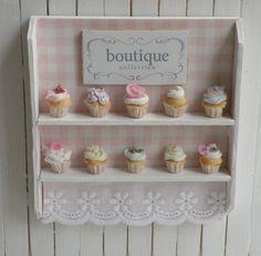 Miniature Artisan Cupcakes and Bakery Shelf