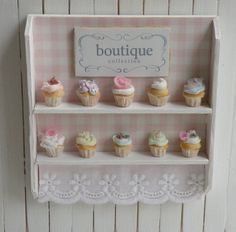 Miniature Artisan Cupcakes and Bakery Shelf
