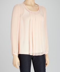 This Michael Brandon Lotus Sheer Pleated Long-Sleeve Top by Michael Brandon is perfect! #zulilyfinds