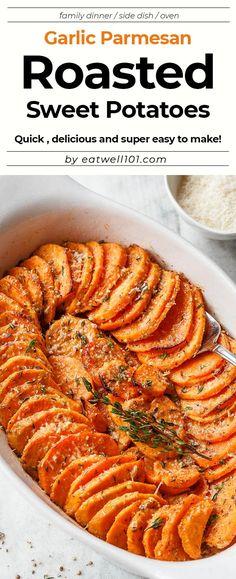 Garlic Parmesan Roasted Sweet Potatoes Recipe - extra-flavorful Roasted Sweet Potatoes and easy to make. - by Garlic Parmesan Roasted Sweet Potatoes Recipe - extra-flavorful Roasted Sweet Potatoes and easy to make. Roasted Potato Recipes, Roasted Sweet Potatoes, Recipes For Sweet Potatoes, Dinner Side Dishes, Dinner Sides, Vegetarian Recipes, Cooking Recipes, Healthy Recipes, Veggie Recipes Sides