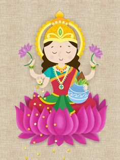 This is a copy of my original illustration. It is a cute version of Goddess Laxm… This is a copy of my original illustration. It is a cute version of Goddess Laxmi especially made for children and young at heart grownups. Diwali Greetings, Diwali Wishes, Indian Gods, Indian Art, Diwali Goddess, Diwali Painting, Saraswati Goddess, Durga Maa, Rangoli Designs Diwali
