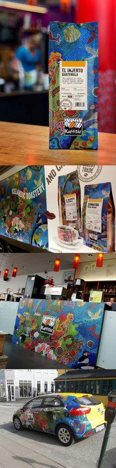 Islanti graafikon silmin osa 2. Kaffitar. Paikallinen kahvibrändi uudisti pakkauksensa loistavalla tavalla. Kampanjan taustalla oleva kuva on syntynyt luovana projektina paikallisen Women's Story Circle -yhdistyksen kanssa. Etnisyys, värit ja mosaiikkimaisuus sopivatkin loistavasti aiheeseen.  Kuvat täältä: http://www.kaffitar.is/ ja https://www.facebook.com/pages/Söguhringur-kvennaThe-Womens-Story-Circle