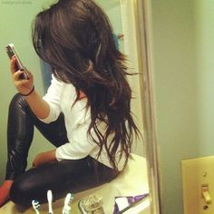 Long layered dark hair