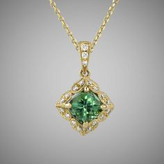 Green Maine Tourmaline & Diamond Necklace in 14K yellow gold - a bright spring green works wonderfully with the richness of the yellow gold