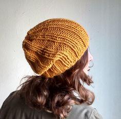 Winter Hat Yellow Knit Hat Womens Slouchy Beanie Mustard #KNITHATSFORWOMEN