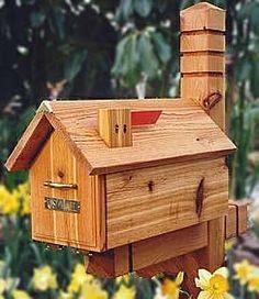 T.K. Industries TKEH1 Handmade Log Cabin Cedar Mailbox