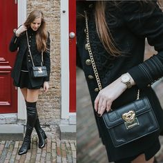 Get this look: http://lb.nu/look/8593257  More looks by Maria B: http://lb.nu/the_beauty_issue  Items in this look:  Zara Leather Overknee Boots, Moschino Bag, Michael Kors Watch, Zara Jacket, Zara Skirt   #chic #elegant #romantic #rosegold #black #leather #watch #outwear #bag