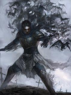 Vampire Warrior by John Chiu High Fantasy, Dark Fantasy Art, Fantasy Armor, Medieval Fantasy, Fantasy Character Design, Character Art, Fantasy Inspiration, Character Inspiration, Vampire Art