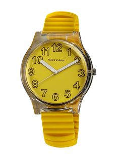 Women's Yellow Silicone Watch & Pouch Set