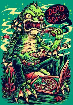 Desenhos Vector Art, Cyberpunk, Pop Art, Creature Skateboards, Black Lagoon, Green Tee, Classic Monsters, Psychedelic Art, Poster