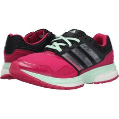 adidas Running Response Boost 2 Techfit (Bold Pink/Black/Frozen Green)... ($50) ❤ liked on Polyvore featuring shoes, athletic shoes, pink, green athletic shoes, breathable running shoes, adidas shoes, lace up shoes and adidas athletic shoes
