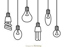Illustration of variation hanging light lamp in black outline on white background