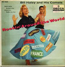 """""""Rockin' Around The World"""" Decca) by Bill Haley And His Comets. Lp Cover, Vinyl Cover, Cover Art, Vinyl Cd, Vinyl Records, Vinyl Labels, Rockabilly Rebel, Bill Haley, Worst Album Covers"""
