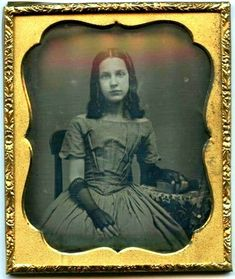 Ready for the social! She's lovely; and those sheer, elbow-length mitts, oh, my! 1840s