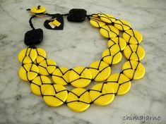 Yellow button necklace - Chiara Trentin - Chimajarno