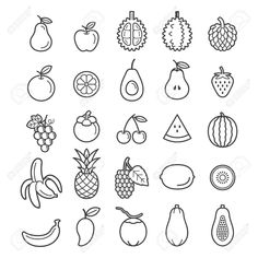 Find Fruits Icons Vector Illustration stock images in HD and millions of other royalty-free stock photos, illustrations and vectors in the Shutterstock collection. Mini Drawings, Doodle Drawings, Easy Drawings, Simple Doodles, Cute Doodles, Bullet Journal Ideas Pages, Bullet Journal Inspiration, Bullet Journal Icons, Fruit Doodle