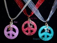 Carved, Coloured, Jade, Semi Precious Stone, Peace signs with a small Tibetan Silver star charm