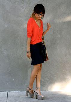 pencil skirt + bright loose tshirt