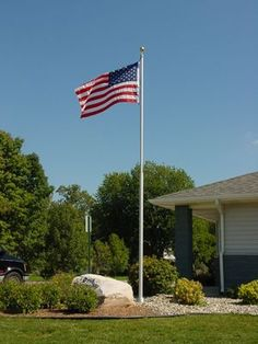 No matter where I live when I get older, whether it be on a farm, in the suburbs, or in a trailer, just know that Old Glory will be sitting proudly in my front yard! Flag Pole Landscaping, Landscaping Around House, Backyard Landscaping, Landscaping Ideas, Outdoor Projects, Outdoor Ideas, Outdoor Decor, Yard Flags, Lawn And Garden
