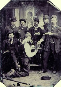 ca. 1880's, [group of thugs robbing a gentleman on his knees]  via Not on Your Tintype: Collection of American Tintypes, Vol. 1, Andrew Daneman