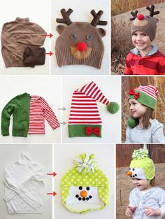 Christmas Hats Made From Old Sweaters Christmas Hats, All Things Christmas, Christmas Ideas, Xmas, Sewing For Kids, Baby Sewing, Craft Activities For Kids, Crafts For Kids, Old Sweater