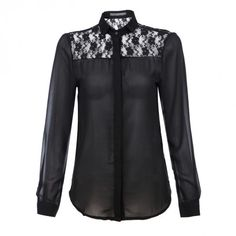 Indressme | Stand Collar Lace Black Chiffon Shirt style 340701 only $28.00 .