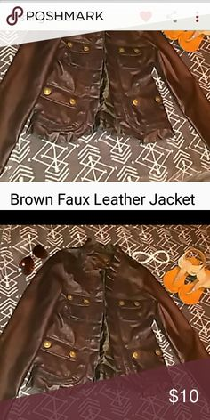 💕Brown Faux Leather Jacket 💕Adorable Faux LeatherJacket in a lovely Brown shade with Adorable Ruffle Accents So Cute with Jeans !!💕 Jackets & Coats Blazers