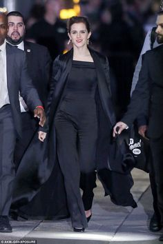 Emma Watson: The actress later changed into a black jumpsuit for her appearance on Jimm...
